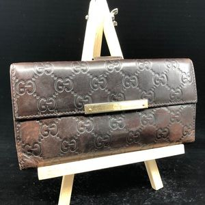 GUCCI GUCCISSIMA BROWN LEATHER BIFOLD WALLET